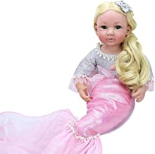 PURSUEBABY 24 Inch Beautiful Princess Reborn Baby Mermaid Doll for Girls Alisa Real Lifelike Baby Dolls Reborn Toddlers Girl Mermaid Dolls with Long Blonde Curly Hair for Christmas with Gift Box Set