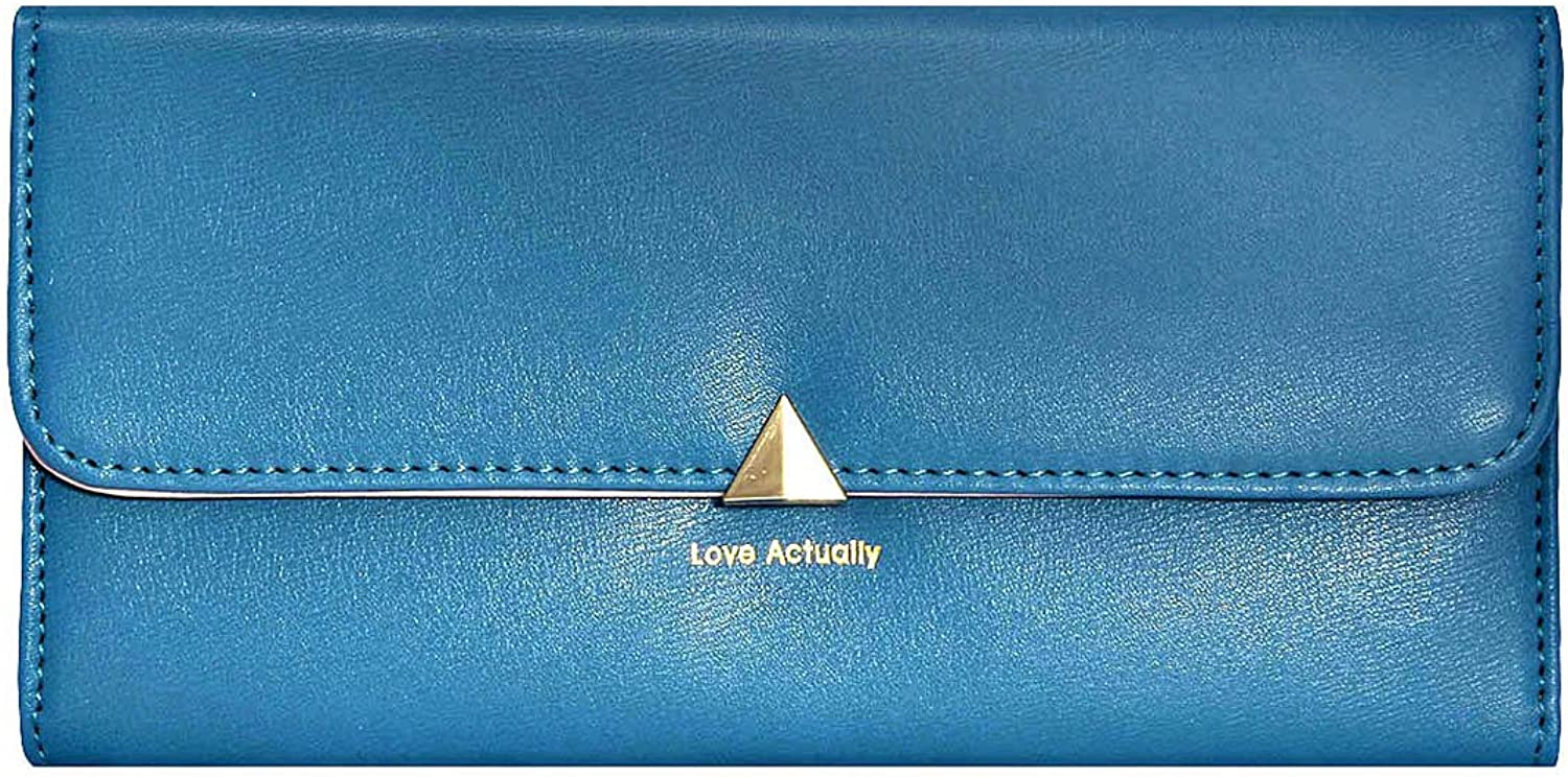 Damara Womens Long Leather Trifold Cards Holder Snap Wallet