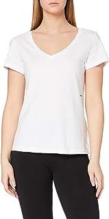 Calvin Klein Jeans Women's Micro Branding Off Placed V-Neck T-Shirt