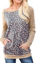 Women's Tops Fashion Leopard Stitching Casual O-Neck Long Sleeve Pockets Shirts