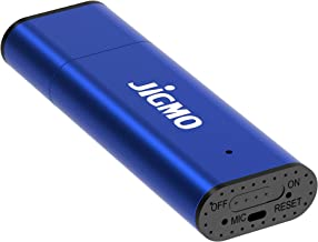 Digital Audio Recorder with USB - [Blue] by JiGMO / 8GB / 48 Hrs Storage Capacity, 384 kbps, Mini Recording Device/with Clear Built-in Microphone! Records While Charging/Best Student Gift!