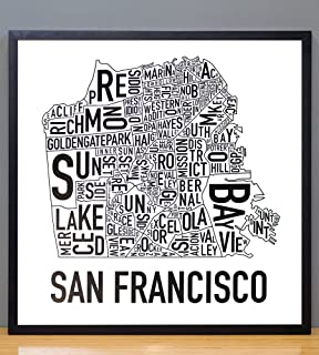 san francisco neighborhood map poster