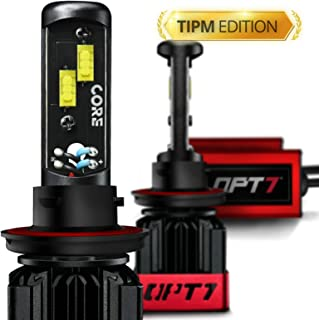 OPT7 Fluxbeam CORE H13 9008 LED Headlight Bulbs TIPM Resistor Kit with FX-7500 CREE Chip Plug-N-Play Conversion Kit for Dodge Ram Jeep Chrysler-6000LM 6000K Cool White-Built Not Bought-1 Year Warranty