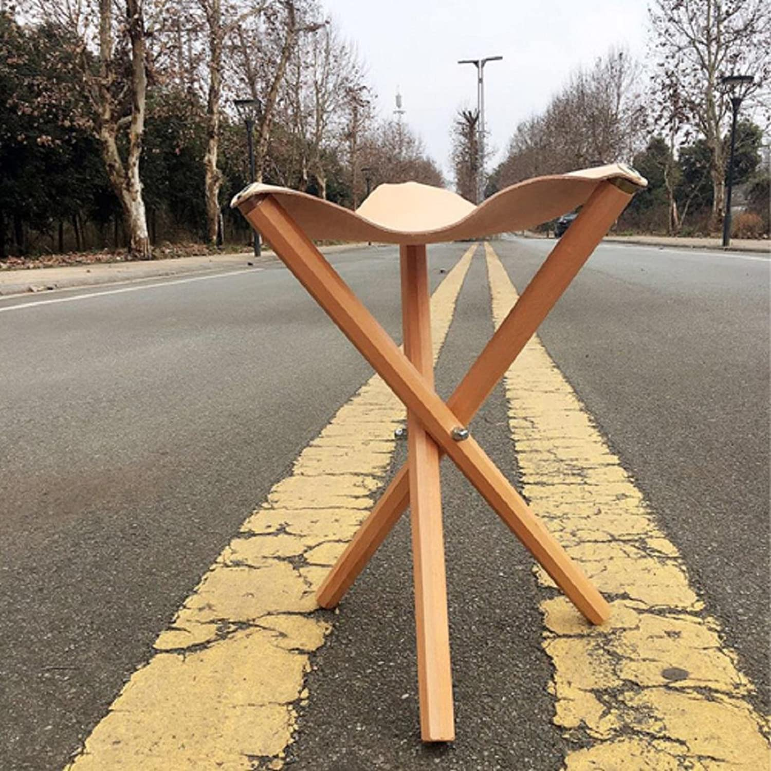 GAOJIAN Creative cowhide Stool Home stool beech wood Triangular stool folding out stool