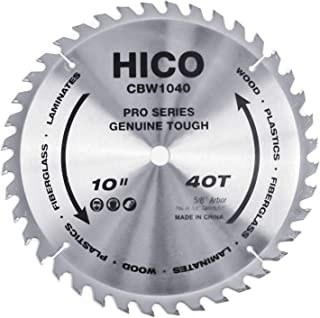 HICO 10-Inch 40-Tooth ATB Miter Saw Blade Thin Kerf General Purpose Saw Blade with 5/8-Inch Arbor for Softwood Hardwood Plywood