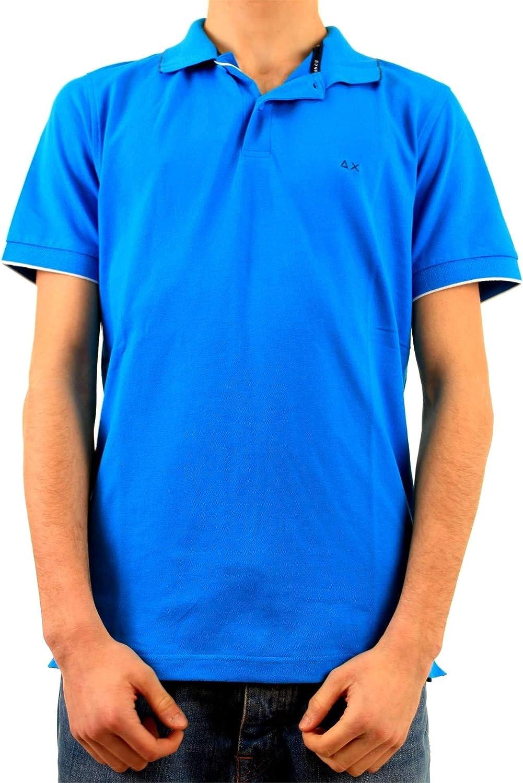 SUN 68 Men's A1910613 Light blueee Cotton Polo Shirt