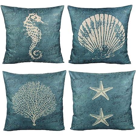 Set of 2 Outdoor Throw Toss Pillow Corals Shells Beach Nautical 16x16 Patio