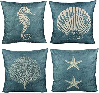 All Smiles Ocean Decorative Starfish Shell Pillow Covers Nautical Navy Sea Theme Marine Style Cases 18x18 Set of 4 for Couch Patio Sofa