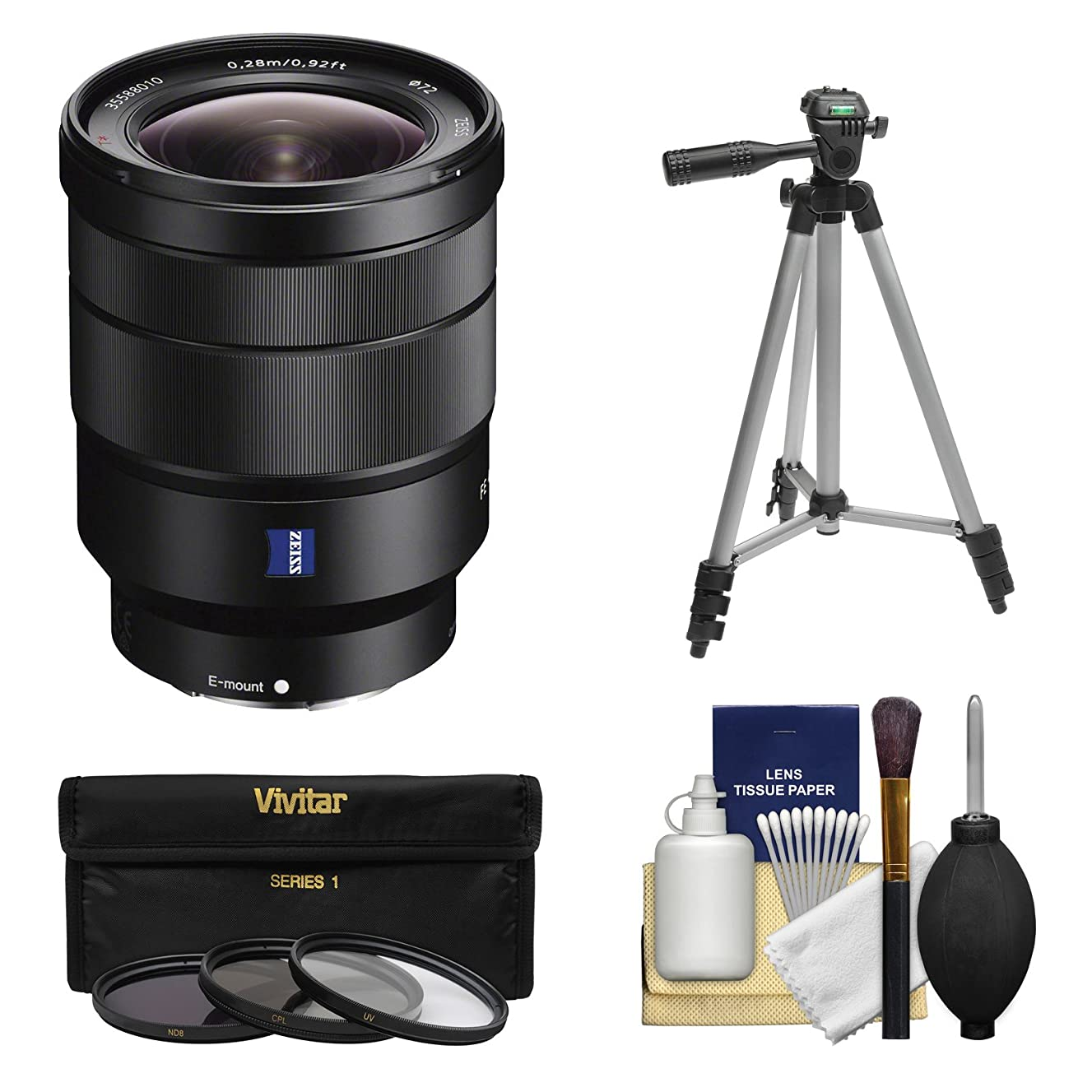 Sony Alpha E-Mount Vario-Tessar T FE 16-35mm f/4.0 ZA OSS Zoom Lens with 3 Filters + Tripod Kit for A7, A7R, A7S Mark II, A5100, A6000, A6300 Camera
