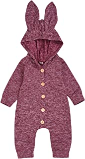 Happy Town Infant Newborn Baby Girls Boys Winter Fall Clothes Solid Buttons Thick Hoodie Bodysuit for 12 Months Rabbit Outfits