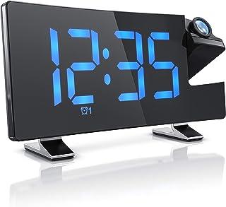 CSL – FM Radioväckarklocka projektionsväckarklocka digital väckarklocka – flip-projektionsdisplay – 2 larmar – 10 volymniv...