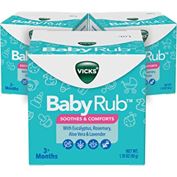 Vicks BabyRub Chest Rub Ointment with Soothing Aloe, Eucalyptus, Lavender, and Rosemary, from the makers of VapoRub, 1.76 oz, 3 Count (Packaging May Vary)