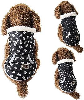 Winter Black Cotton Cozy Pet Dog Puppy Warm Jacket Coat Vest Star Dot Bowknot Clothes with Cap - Star M