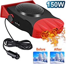 Upgrade Car Heater, 2 in 1 Portable Fast Heating Car Heater with Heating & Cooling Function Defroster Defogger 12V 150W, 3-Outlet Plug Adjustable Thermostat in Cigarette Lighter