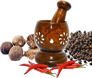 Bignay Wooden Mortar & Pestle Mixing Grinder for Kitchen/Vintage Rustic Handcarved Spice & Herbs Crusher Bowl/Handmade Decorative