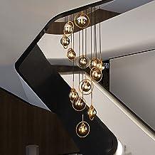 Lustres de vidro modernos concisos , Lustres de escada giratória E14 , Lustres longos de luxo de luz nórdica criativa , Pa...