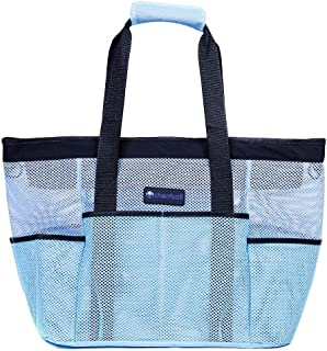 cherrboll XL Mesh Beach Pool Bag Tote Lightweight with Zipper 8 Large Pockets Solid Base (Blue)