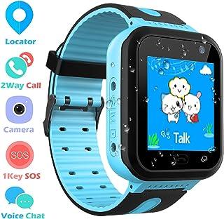 Impermeable GPS Smartwatch para Niños, Reloj Inteligente Phone con GPS LBS Tracker SOS Chat de Voz Cámara Despertador Podómetro Juego Cálculo para Regalos Estudiantes Compatible con iOS Android, Azul