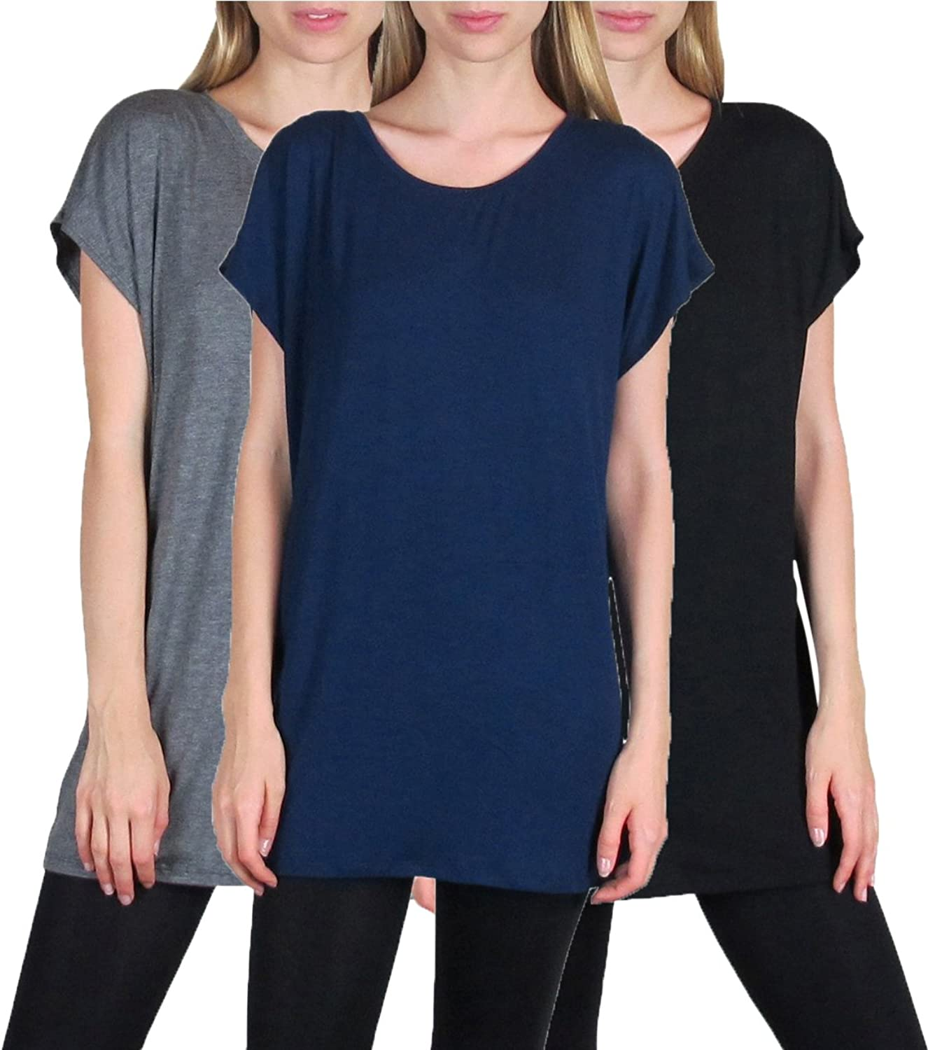 3 Pack  Free to Live Women's Long Kimono Sleeve Loosefit Tunics