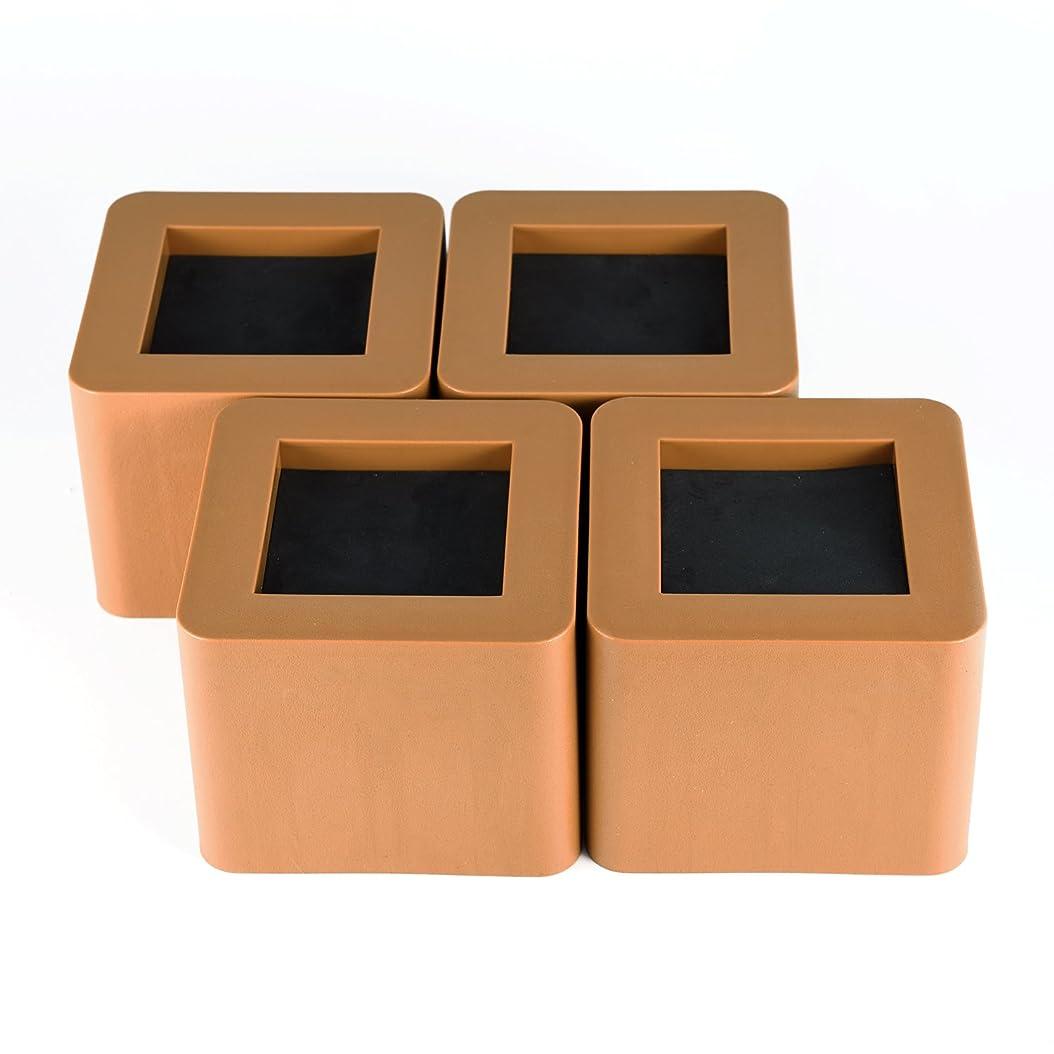 欺くスワップオープナーUping テーブル? ベッドの高さ調節が簡単にできる ベッドの高さをあげる足 4個セット 高さを上げる 高さ調節脚 こたつ 継足し 継ぎ足 テーブル脚台 高さ調整 暖房器具 (耐荷重1000kg) ブラウン