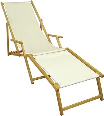 Erst-Holz Chaise Longue Blanche avec Repose-Pieds, chilienne, Bain de Soleil Pliant, en Bois 10-303NF