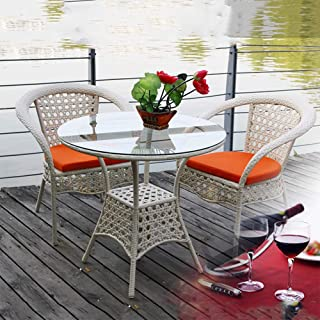 DASENLIN Leisure Tables and Chairs Yuet Yuen Leisure Rattan Chair Tea Table Balcony Table and Chair Outdoor Leisure Rattan Table and Chair Wholesale Rice White One Table Two Chairs  Without PAD