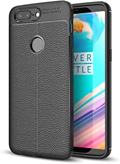 NALIA Leather Look Case Compatible with OnePlus 5T, Silicone Ultra-Thin Protective Phone Cover Rubber-Case Gel Soft Skin, Shockproof Slim Back Bumper Protector Back-Case Smartphone Shell - Black