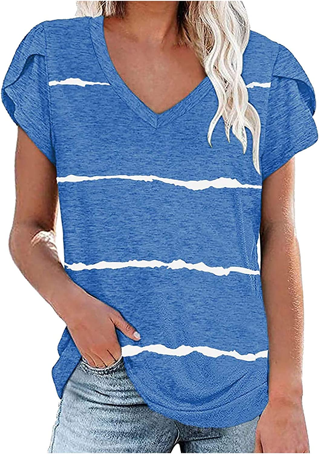 GKASA Short Sleeve Shirts for Women Tops Year-end gift Neck Striped Print Limited price Su V