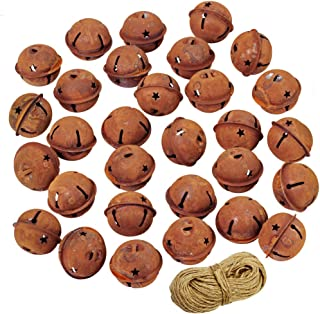 30 Pcs Rusty Jingle Bells with Star Shaped Cutouts CraftBells DecorativeBells Bulk 1-1/2