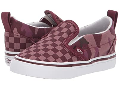 Vans Kids Slip-On V (Infant/Toddler) ((Tonal Checkerboard) Port Royale/True White) Boys Shoes