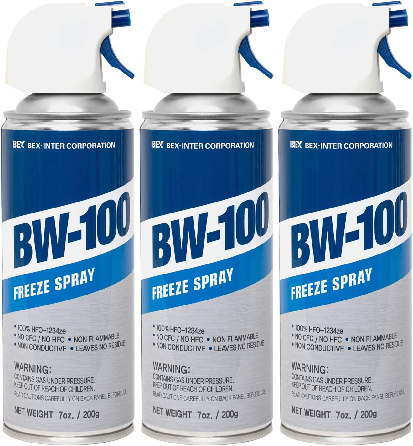 BW-100 Freeze Spray - Diagnostic Cooling Spray - Safe for Semiconductors, Capacitors, PCBs and More - Non-Flammable Construction | 7 oz/200g | Pack of 3