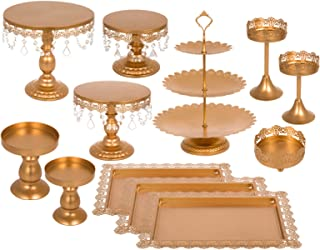 Happybuy 12 PCS Gold Cake Stands Set Metal Antique Cupcake Stand Pastry Trays Dessert Display Plate Birthday Party Wedding Cake Stand Holder with Crystal Pendants and Beads (12PCS, Gold)