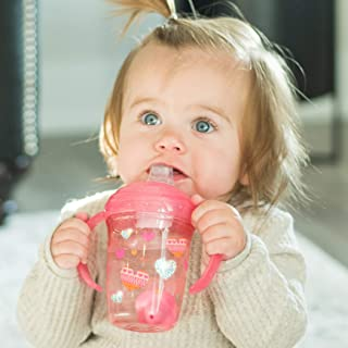 Nuby No Spill Tritan 2 Handle 360 Weighted Straw Glitter Print - Spout Cup, 8oz/ 240 Ml /4 Months +, Colors Vary: Blue Spa...