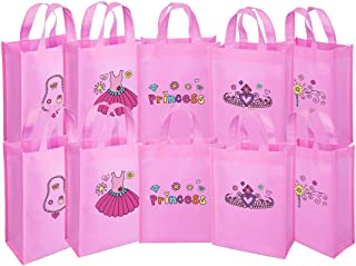 Ava & Kings Fabric Tote Party Favor Goodie Gift Bags for Candy, Treats, Toys, Loot - Birthdays, Showers, Easter, Halloween, Lunch, Grocery - Set of 10 - Pink Princess