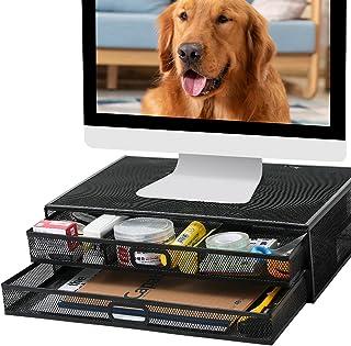 Monitor Stand Riser with Drawer Mesh Metal Desk Organisers لوازم جانبی دارنده چاپگر PC با کشوی کشوی سازگار ، لپ تاپ ، نوت بوک ، لوازم اداری برای کامپیوتر