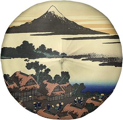 Amazon Com Artverse Katsushika Hokusai The Tea Plantation Of Katakura Floor Pillow Round Tufted 30 X 30 Tan Home Kitchen