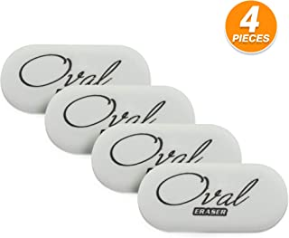 Emraw White Oval Soft Pencil Mark Eraser Rubber for School, Office, Art, Drawing (4-Pack)