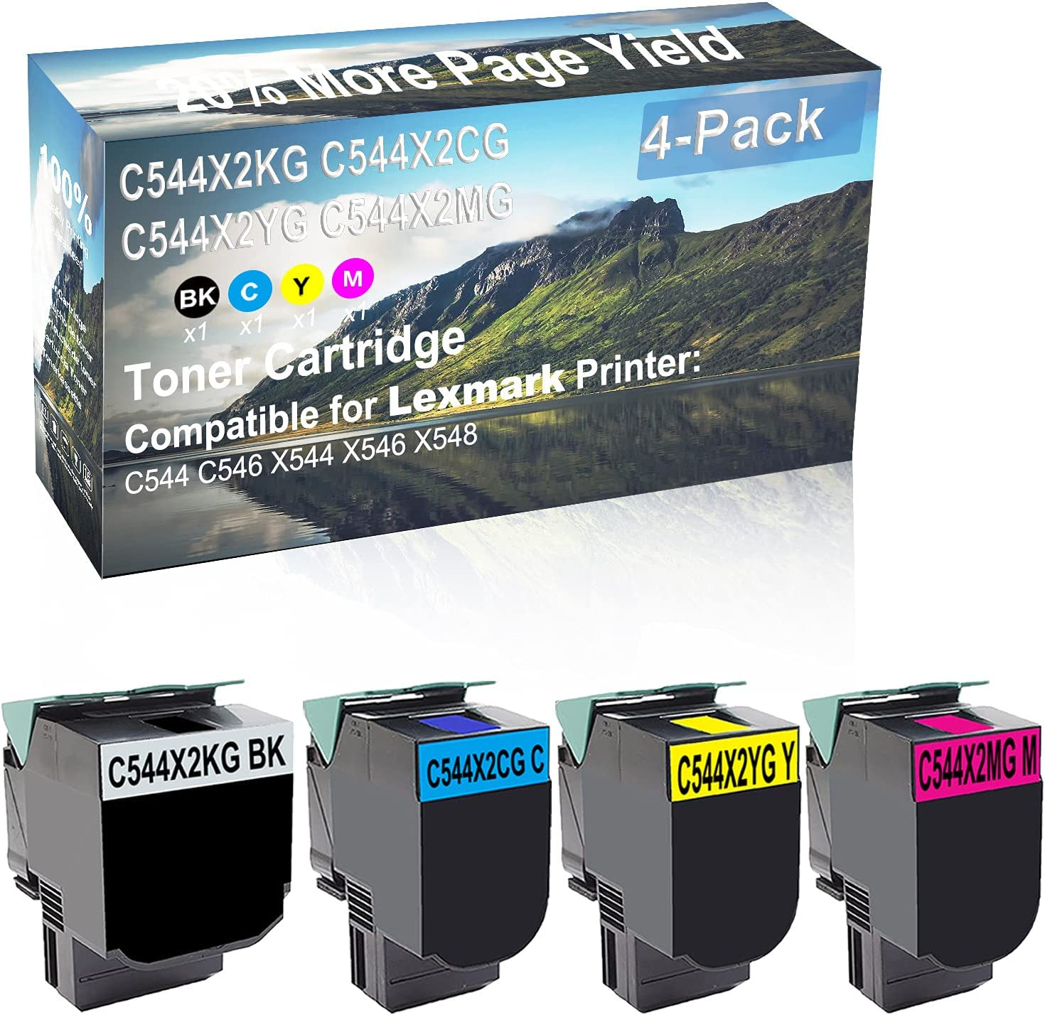 4-Pack (BK+C+Y+M) Compatible C544 C546 X544 X546 X548 Printer Toner Cartridge High Capacity Replacement for Lexmark C544X2KG+ C544X2CG+ C544X2YG+ C540H2MG Toner Cartridge