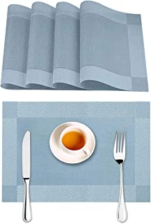 Placemats for Dining Table Woven Vinyl Non-Slip Insulation Place Mats Washable Placemat Set of 4 Blue Stylish Table Centerpieces for Dining Room