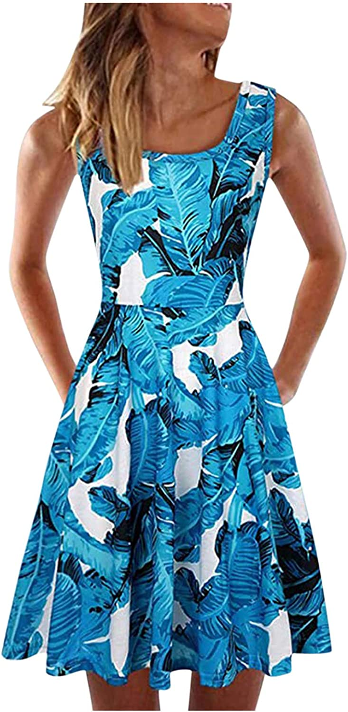 iQKA Women Swing Dress Bohemian Floral Print Sleeveless A-Line Flowy Dresses Summer Casual Short Mini Dress Vestidos