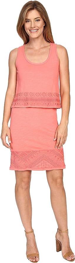 Slub Jersey Lace Hem Tank Dress