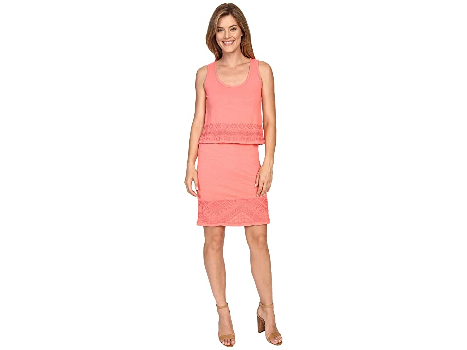 Mod-o-doc Slub Jersey Lace Hem Tank Dress (Cali Coral) Women