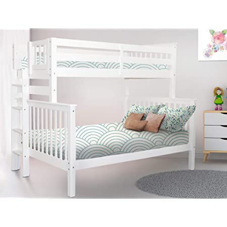 Amazon Com Bedz King Bunk Beds Twin Over Full Mission Style With End Ladder White Furniture Decor