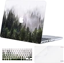 MOSISO Case Only Compatible with Older Version MacBook Pro 15 inch A1398 with Retina Display (2015 - end 2012 Release),Plastic Pattern Hard Shell&Keyboard Cover&Screen Protector, Green Forest