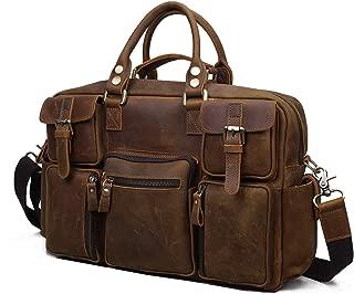 SGJFZD Men's Messenger Bag Travel Shoulder Bag Large Capacity Crazy Horse Leather Men's Bag (Color : Brass, Size : L)