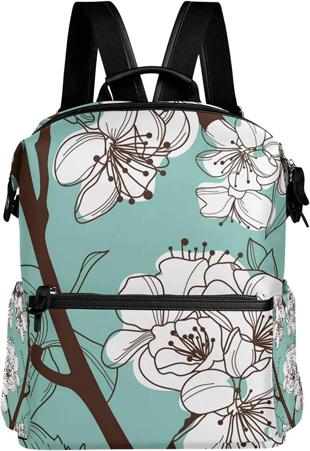 MONTOJ Hand Drawing Plum Blossom Pattern Leather Travel Bag Campus Backpack