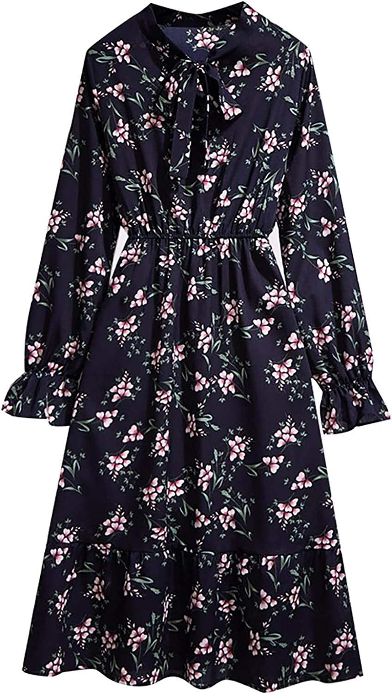 HNCS Midi Dress for Women,Women's Fall Dress Long-Sleeved Boho Dress Bowknot Elastic Waist Mid-Length Dress