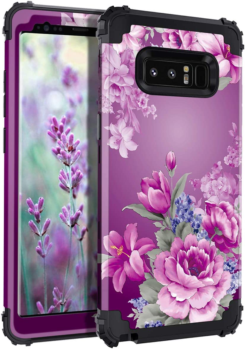 Lontect Compatible Galaxy Note 8 Case Floral 3 in 1 Heavy Duty Hybrid Sturdy High Impact Shockproof Protective Cover Case for Samsung Galaxy Note 8, Black/Purple Flower