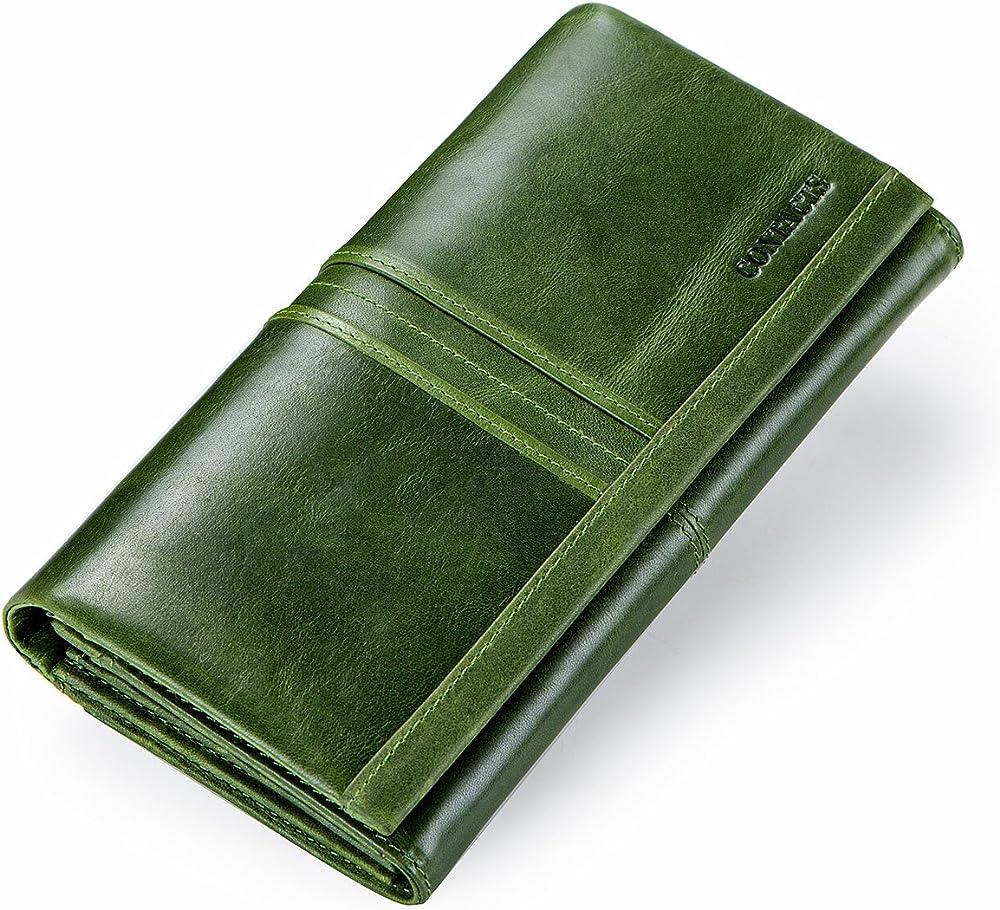 Contacts, porta carte di credito, portafoglio a tre ante da donna,  in vera pelle, verde