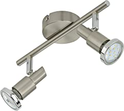 Briloner Leuchten LED Ceiling Light, Two rotatable & pivotable spotlights Ceiling lamp, matt-Nickel Design, 2 x 3 W GU10 L...